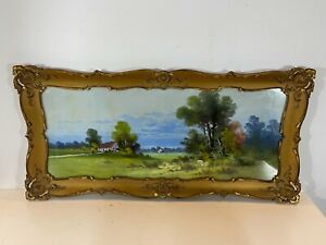 Antique Houses on Plain Landscape Oil Painting Framed Signed Clarence Braley
