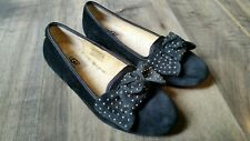 Ugg Australia Alloway Black Studded Bow Flats Size 5 Leather Wool Suede Uggs