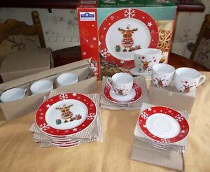 Van Well Porzellan Kaffeeservice 18-tlg. Weihnachtsdekor Elch Wellco Design