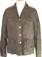 Lands End Womens Size 12 Medium Jacket Brown Linen Lightweight Cargo Pockets