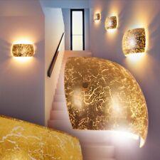 Lámpara de pared moderna metal color dorado pantalla cristal salón comedor