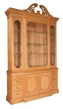 Pine breakfront bookcase with dentil work crown moulding, broken arch. Lot 100