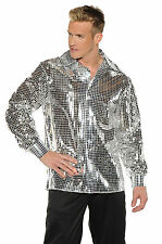 1970S 70S SILVER DISCO BALL SHIRT SEQUIN COSTUME DANCE SATURDAY NIGHT FEVER PIMP