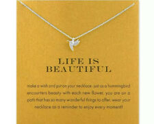 Silver Hummingbird Life Is Beautiful Necklace on Gift Statement Card Nwt