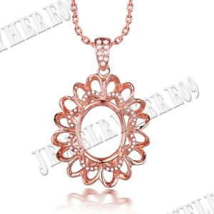 Pave Prong Oval 11.5x9.5mm Natural SI/H Diamond Fine Pendant Solid 10K Rose Gold
