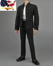 1/6 black Chinese tunic suit Bruce Lee Kung Fu school Uniform set hot toys ❶USA❶