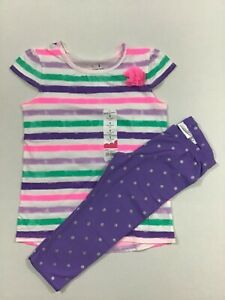 Jumping Beans NWT Girl Size 5 2 Piece Outfit Set Capri Leggings Top Purpose Dots