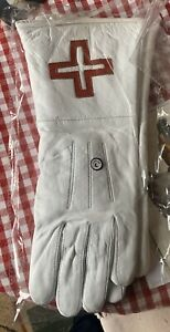MASONIC SOFT LEATHER ST THOMAS OF ACON GAUNTLETS/GLOVES (NEW) Snap Up A Bargain