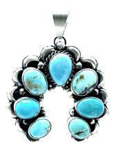 Navajo Sterling Silver Thunder MT. Turquoise Naja Pendant Handmade By Betta Lee