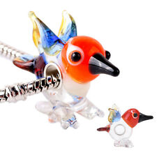 Special Murano Glass Bead Animals Bird Charm Sterling Silver Cores for BraceletT
