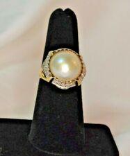 14k Yellow Gold Mabe Pearl & Diamond Statement Ring Size 6.5