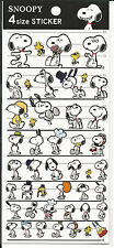 Peanuts Snoopy Stickers Seals From Japan Rare 4 Sizes