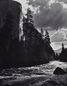 1959 Vintage ANSEL ADAMS Merced River Yosemite Valley Landscape Photo Art 12X16