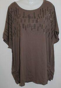 Mocca Frank Usher Embellished Short Sleeve Round Neck Top - XL - New