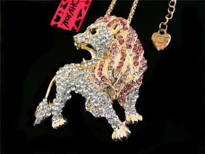 Betsey Johnson Bling Pink Crystal Lovely Lion Pendant Sweater Necklace Gift