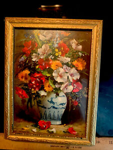 Antique Wood and Glass Jewelry Box W/ Mirror Glass Framed Print of Colorful Buds