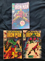 IRON MAN Silver Age lot of 3 comics: #1 (1968 - coverless), #3 & #5, Readers Lot