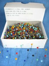 Stecknadeln mit farbigem Glaskopf  1000 Stck NEU Nadeln Stahlstecknadeln