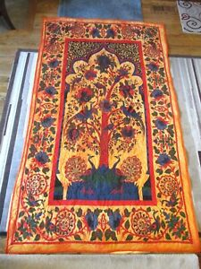 """New USA Hand Made Lap/Twin Quilt - Tree of Life- Whole Cloth 49"""" x 82"""""""