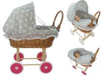 Doll Wicker Buggy /Pram / Dolls Buggy/Pram/ Stroller/Natural wicker GRAY STARS