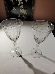 Lot 2 of  Vintage Clear Etched Depression Wine Glasses Cherries Swirl