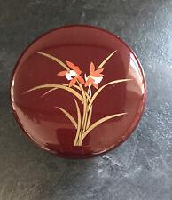 Vintage 80s Retro Laquer Look Red/maroon Lidded Trinket Jewellery Box Orchid