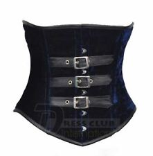 Full Steel Bone Basque Gothic Shape Underbust Velvet and Real Leather Corset