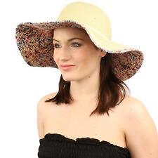 """UPF Summer Floral Under Visor Wide Brim 4-1/8"""" Floppy Beach Sun Hat Natural Red"""