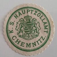 Siegelmarke Vignette K. S. Hauptzollamt Chemnitz (5443)