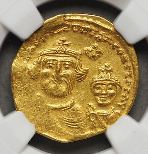Heraclius & Heraclius Constantine. 610-641. Gold Solidus, NGC XF