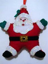 "HAND~CRAFTED 5 1/2""  FELT STAR SANTA SEQUINED CHRISTMAS ORNAMENT~NEW"