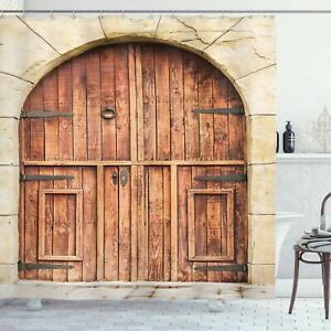 Oak Crafted Doorway Stone Facade Culture Theme Shower Curtain