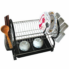 Black Chrome Dish Drainer Rack Drip Dry Washing Up Plate Drying Tidy Stacking