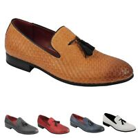 Mens Classic Woven Leather Lined Tassel Loafers Retro Smart Casual Slip on Shoes