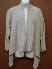 EILEEN FISHER Taupe Beige Natural Organic Cotton Open Jacket Cardigan Sz LG NWT