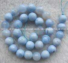 """12mm Blue Agate Faceted Round Loose Beads 15"""""""