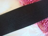 "2 yards black knitted waistband wide elastic trim 1 1/2"" w"