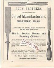 1873 BUCK BROTHERS MILLBURY MASSACHUSETTS CHISEL WOODWORKING TOOLS ADVERTISEMENT
