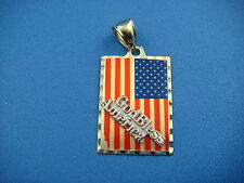 "14K YELLOW GOLD AMERICAN FLAG ""GOD BLESS AMERICA"" PENDANT 3 GRAMS 23 x 16.5 MM"