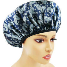 Large Black Triple Layer Shower Cap for Women Microfiber Terry Cloth Silky Satin