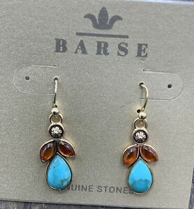 Barse Larkspur Earrings- Turquoise & Amber- Bronze- NWT