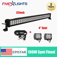 32''inch LED 180W Light Bar Combo Truck Off road 2X4'' 18W Cube With Harness Kit