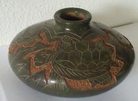 Rare vintage pottery bowl vase green swimming turtles ceramic jade gorgeous!