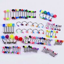 Lot 105 PCS Mix Piercing Jewelry Eyebrow Navel Belly Tongue Lip Bar Ring