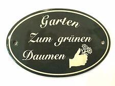 """""""Garten Zum grünen Daumen"""" Gartenschild aus hochwertigem Emaille, winterfest"""