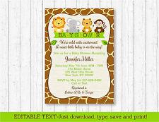 Cute Jungle Safari Animals Printable Baby Shower Invitation Editable PDF