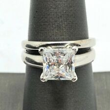 Sterling Silver 925 Faceted Princess Cut CZ Solitaire Engagement 2 Piece Set