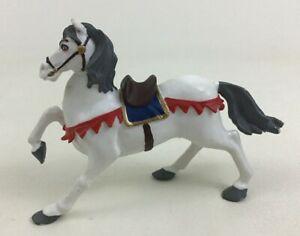 """Papo Decorated Toy White Horse Gray Mane Saddle 6"""" Figure Farm Animal 1999 Pony"""
