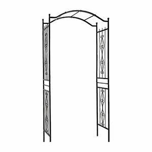 Gardman R355 Charleston 7 Foot Outdoor Yard Garden Metal Trellis Arch, Black