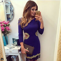 Sexy Women Short Mini Dress Casual Bandage Evening Party Cocktail Long Sleeve